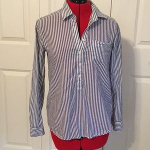 J. Crew Blue and White Striped Button Down